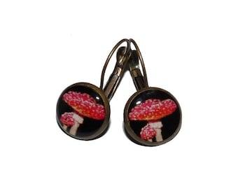 Red amanita mushroom nature jewelry on etsy for women girl earrings