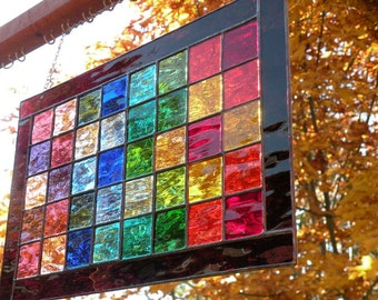 Rainbow Stained Glass window panel