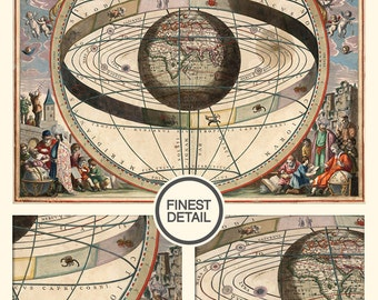 Large map print of Geocentric Model - up to 42 inches Fine Art archival print - 049