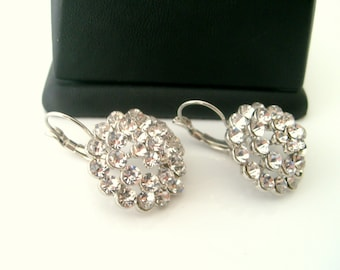Rhinestone crystal leverback earrings wedding jewelry bridal jewelry bridesmaids gift mothers day gift