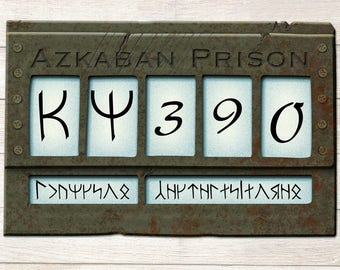 Azkaban sign, Harry Potter decor printable, PDF FILES, Prison identification number for wizard party, Harry Potter photo Booth Prop