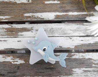 Nightlight Dolphin nursery baby dolphin, shower, Star, fish, unisex nursery, dolphin night light, birth gift, led night light