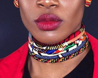The Sahara - Multistrand Ankara Choker - Ankara Neck Rings - African Print Choker - Multistrand Choker - neck rings - African fabric choker