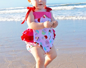 Baby sewing pattern pdf, romper pattern, sunsuit pattern ruffle romper, diaper cover pattern, baby clothing pattern, infant newborn ISABELLA