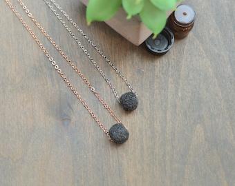 Lava Necklace, Essential Oil Necklace, Oil Diffuser Necklace, Lava Stone Necklace, Lava Rock Necklace, Diffuser Necklace, Rose Gold, Silver