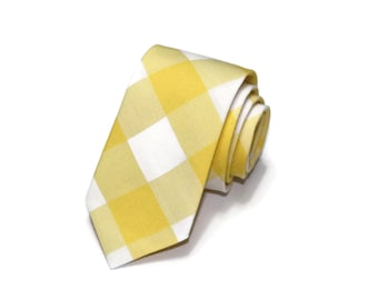 Yellow Buffalo Plaid Necktie~Anniversary Gift~Wedding Tie~Boys Necktie~Mens Necktie~Wedding~Mens Tie~Boys Tie~Mens Gift~Yellow Gingham