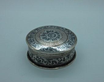 Antique original perfect silver ottoman amazing box