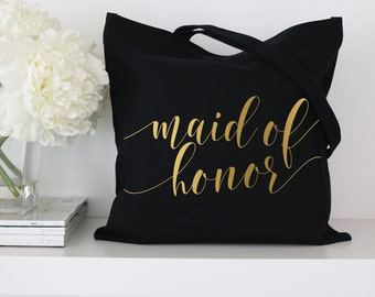 Maid of Honor Tote Bag - Black or White Bridal Party Tote Bags - Fancy Script,Bridal Tote Bags, Wedding Totes, Custom Tote Bags, Market Bag