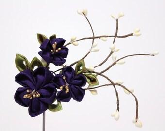 ON SALE - 42 instead of 55 - purple dark lilac violet Cherry blossom hair accessories clip- Geisha Maiko Kanzashi