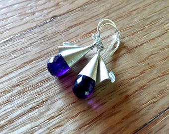 Unfurled - Amethyst and Fine Silver Earring Drops