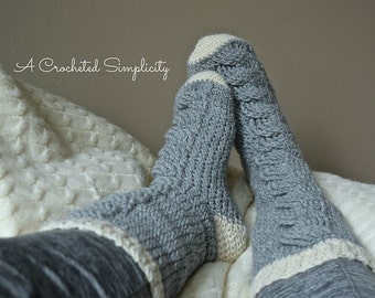 Crochet Pattern: Big Bold Cabled Slipper Socks & Footies (Adult), Permission to Sell Finished Items