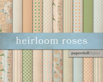 Cottage Chic Digital Paper - Peach, Green and Blue - Floral Scrapbooking Paper - Quatrefoil Pattern - Polka Dot Pattern - Instant Download