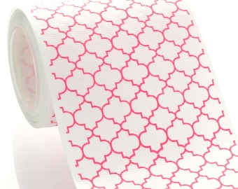 "3"" Hot Pink Quatrefoil Grosgrain Ribbon - 5yds"