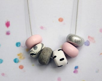 Pink & Pattern Handcrafted Polymer Clay Necklace