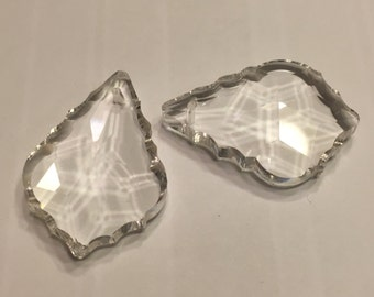 2 Crystal glass Chandelier Prisams drops, 38 mm (A13/4)