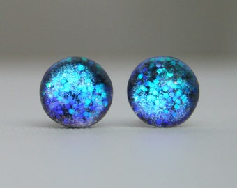 Bluebird - Teal, Midnight and Royal Blue - Color Shifting - Stainless Steel Stud Earrings