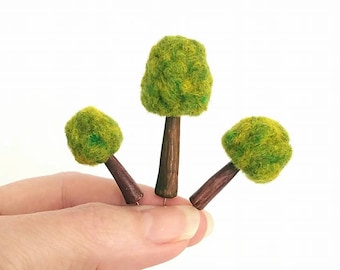 Spring Brights Tree Pack Set of (3)  - Miniature Trees, MADE TO ORDER, Pin Toppers Decorative Sewing Pins