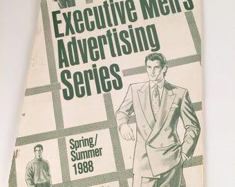 Vintage 80s Mens Fashion Illustration Book, Executive Men's Advertising Series, Spring/Summer 1988, Vintage Advertising, Paper Ephemera