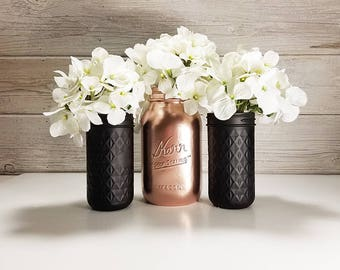 3- Hand Painted Mason Jars Flower Vases- Black Tie Collection -Country Decor-Cottage Chic-French Chic-Rustic Wedding-Country Wedding Decor