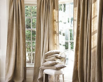 Burlap Curtains, Burlap Curtains, Burlap Window Treatments, Burlap for living room, bedroom