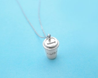 Caffe, Latte, Gold, Silver, Necklace, Coffee, Necklace, Coffee, Lovers, Jewelry, Birthday, Friendship, Mom, Sister, Gift, Jewelry
