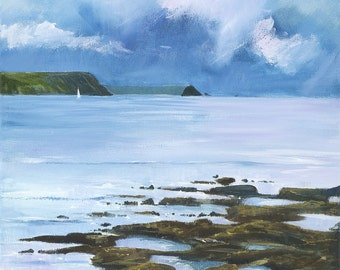 Giclee print, original cornish seascape, coastal art, Portscatho, made in Cornwall