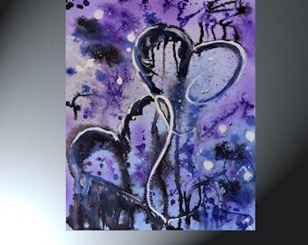 Abstract Purple Heart Original Painting 16 x 20 Sherry Arthur