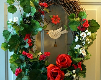 FALL Summer Wreath, Summer Song wreaths, Bird Wreath, Red Roses Geranium Wreath, Outdoor Wreath