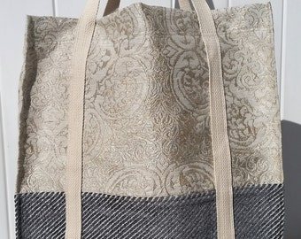 Charcoal Gray Stripe and Sophisticated Ivory Damask, Designer Tote Bag, Beach Bag, Travel Bag, Everyday Carry All