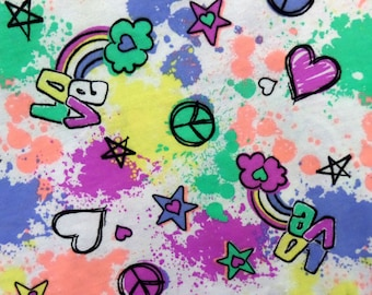 Peace Love Rainbow Cotton Knit Fabric - Infants Toddler Childrens jersey knit fabric by the yard - Paint Splatter Knit - The Fabric Zoo