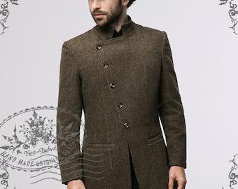 Steampunk Dandy Bias Victorian Wool Blend Coat for Man