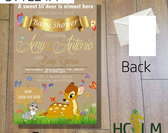 Bambi Baby Shower, Invitation, Bambi Theme, Digital File, Cute and Adorable