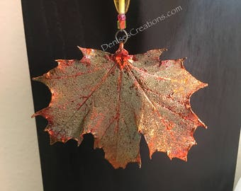 Copper Maple Electroplated Leaf Christmas Ornament by Denise's Creations