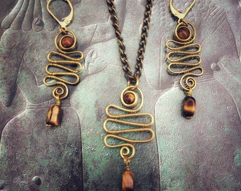 Snake set, tigers eye earrings and pendant set, brass wire weaved jewelry, jewelry set gifts, snake earrings, snake pendant, snake jewelry