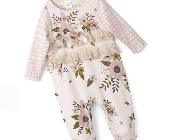 SPRING SALE! Baby Girl Romper, Newborn Girl Footie Romper, Baby Girl Onesie, Newborn Girl Footed Romper, Baby Girl Ruffles, Pink, Floral