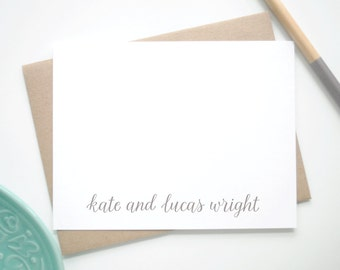Personalized Stationery / Personalized Notecard Set / Names in Handwritten Font / Set of 12 Flat Personalized Stationary
