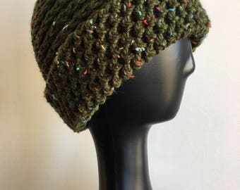 Green Tweed Reversible Hat, Slouchy Hat, Warm Beanie, Crochet Hat, Crochet Beanie, Adult Hat, Adult Beanie, Thick and Warm Hat