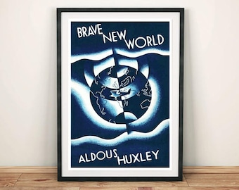 BOOK COVER PRINT: Vintage Brave New World Sci-fi Art Print Wall Hanging