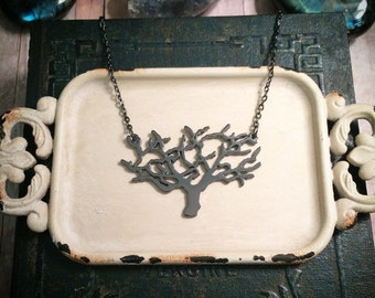Tree of Life necklace // tree necklace // gunmetal necklace // branch necklace // tree branch necklace // gothic necklace