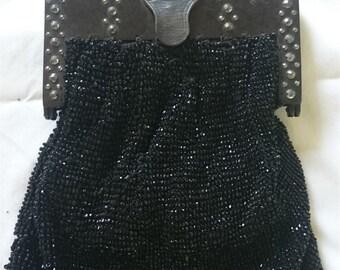 Antique Victorian Black Beaded Metal Studs Evening Handbag Purse 1800's Original