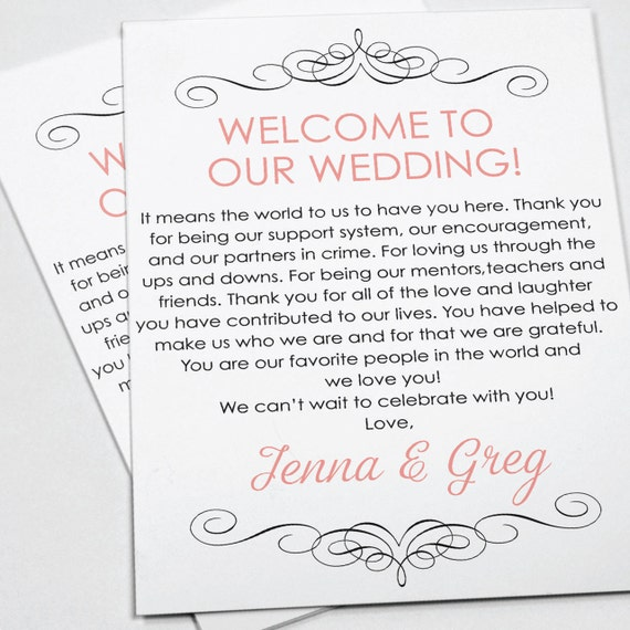 wedding welcome letter wedding itinerary wedding favor