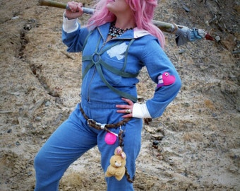 MADE TO ORDER Turbo Kid Apple Inspire Costume Set Jumpsuit chest harness belt with chain and pink fuzz ball cosplay halloween