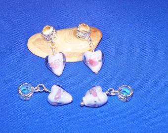 Pink 1 blue flower lampwork glass heart charm 27 x 12 mm pandor style has