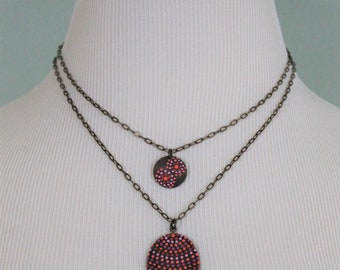 Layering Necklace, Layered Necklace Set, Mandala Necklace, Jewelry with Dots, Necklace with Dots, Coral and Ruby Pink Necklace, Pointillism