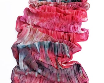 "Silk chiffon scarf - crinkle scarf - large scarf - hand dyed - grey, pink, red-orange, red-violet - LARGE - 17"" x 74"""