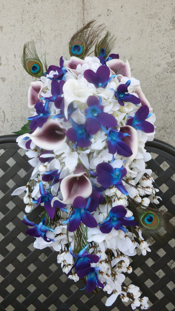 Cascading bridal bouquet with galaxy orchids purple blue