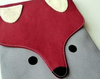 Fox iPad Case Foxy iPad Sleeve Animal iPad Pouch Vegan iPad Case Padded iPad Sleeve Cute Fabric iPad Cover Fantastic Fox BURGUNDY GREY Color