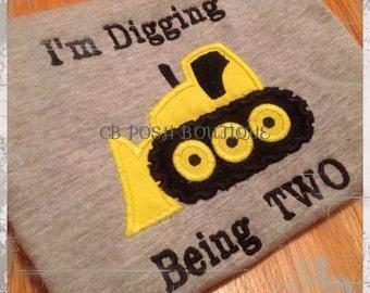 I'm Digging Being Two Bulldozer tee