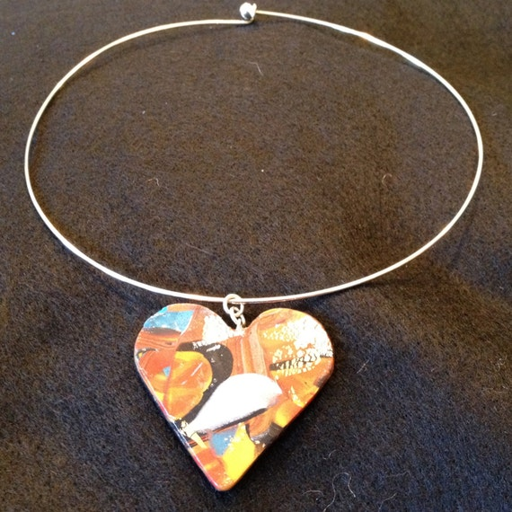 SJC10188 - Handmade silver plated choker necklace with contemporary multicolor polymer clay heart pendant.