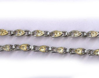 very sparkly vintage ART DECO rhinestone sections for repurpose rhinestones findings BRIDAL finding two sections